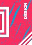 Modello del modello di vettore del manifesto Il rosa disegnato a mano ed il fondo blu dell'illustrazione, elementi decorativi pro illustrazione di stock