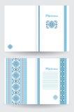 Modello del diploma o del certificato con il modello etnico dell'ornamento nei colori blu bianchi Fotografie Stock
