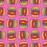 Modello del disegno dell'hamburger Grande fondo di stile del fumetto dell'hamburger Fotografia Stock Libera da Diritti