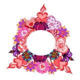 Modello del fiore e dei cuori nel cerchio royalty illustrazione gratis