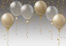 Modello del fondo di celebrazione con i palloni, i coriandoli ed i nastri su fondo trasparente Illustrazione di vettore royalty illustrazione gratis