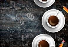Modello del fondo di Infograph con un caffè fresco sulla tavola di legno reale Immagini Stock