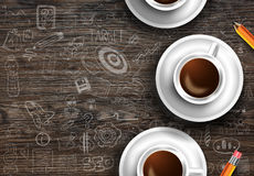 Modello del fondo di Infograph con un caffè fresco sulla tavola di legno reale Immagine Stock