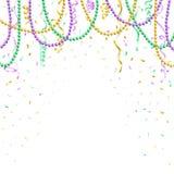 Modello del fondo di Mardi Gras, insegna festiva, perle variopinte e coriandoli, illustrazione di vettore illustrazione vettoriale