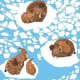 Modello del fumetto con i mammut Fotografie Stock
