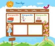 Modello del fumetto per il sito Web del bambino Fotografie Stock