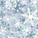 Modello del gelo invernale con i fiocchi di neve Reticolo senza giunte di inverno Immagini Stock