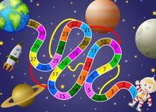 Modello del gioco con il fondo del astronaunt e dello spazio illustrazione vettoriale