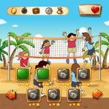 Modello del gioco con il fondo di beach volley Immagini Stock Libere da Diritti