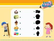 Modello del gioco di corrispondenza con i dessert illustrazione vettoriale