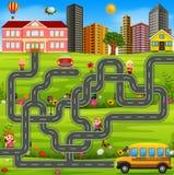 Modello del gioco del labirinto con lo scuolabus illustrazione di stock
