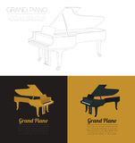 Modello del grafico degli strumenti musicali Pianoforte a coda Immagini Stock Libere da Diritti