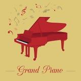Modello del grafico degli strumenti musicali Pianoforte a coda Fotografia Stock Libera da Diritti