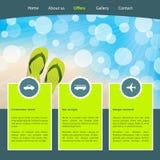 Modello del homepage di turismo per le vacanze della spiaggia illustrazione vettoriale