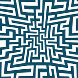 Modello del labirinto della geometria dell'estratto del grafico di vettore Priorità bassa geometrica senza giunte blu Fotografie Stock Libere da Diritti