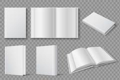 Modello del libro Chiuso bianco in bianco e libri aperti Manuali e modello di vettore isolato opuscoli royalty illustrazione gratis