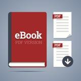 Modello del libro elettronico con l'etichetta pdf Immagini Stock Libere da Diritti