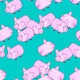 Modello del maiale senza cuciture Fondo dei maiali Ornamento dell'animale da allevamento Vec illustrazione vettoriale