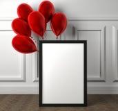Modello del manifesto in bianco della struttura e dei palloni rossi sul pavimento royalty illustrazione gratis