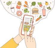 Modello del manifesto con le mani che tengono telefono con l'applicazione mobile di servizio di distribuzione dell'alimento o sit royalty illustrazione gratis