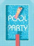 Modello del manifesto della festa in piscina con la donna in bikini che prende il sole retro illustrazione d'annata di vetto Fotografia Stock