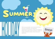 Modello del manifesto di estate Il sole e la nube Scena antiquata di mattina: macchina da scrivere antica, tazza di caffè fresco, Fotografia Stock