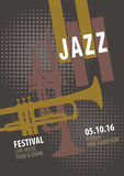 Modello del manifesto di festival di jazz Fotografie Stock