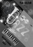 Modello del manifesto di jazz di vettore o di musica dei blu Fotografie Stock