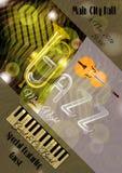 Modello del manifesto di jazz di vettore o di musica dei blu Fotografia Stock