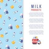 Modello del manifesto di produzione di latte - coltivi la progettazione dell'insegna della latteria illustrazione vettoriale