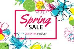 Modello del manifesto di vendita della primavera con il fondo variopinto del fiore latta illustrazione di stock