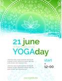 Modello del manifesto per il giorno internazionale di yoga Fotografia Stock