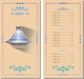 Modello del menu con il tagine Marocco royalty illustrazione gratis
