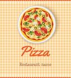 Modello del menu con pizza Immagini Stock
