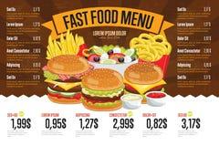 Modello del menu degli alimenti a rapida preparazione Fotografie Stock
