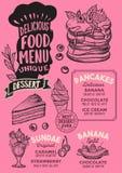 Modello del menu dell'alimento del dessert per il ristorante con il letteri del cappello dei cuochi unici illustrazione di stock
