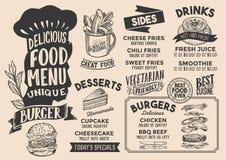 Modello del menu dell'alimento dell'hamburger per il ristorante con il letterin del cappello dei cuochi unici royalty illustrazione gratis