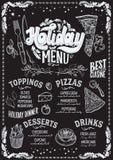 Modello del menu di Natale per il ristorante della pizza sulla lavagna illustrazione di stock