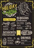 Modello del menu di Natale per il ristorante vegetariano illustrazione vettoriale