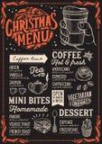 Modello del menu di Natale per la caffetteria sulla lavagna illustrazione vettoriale