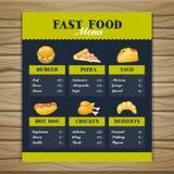 Modello del menu del fast food royalty illustrazione gratis