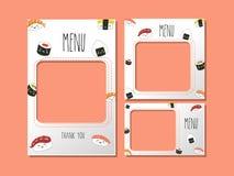 Modello del menu per stile dei sushi dell'alimento del Giappone illustrazione vettoriale