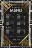 Modello del menu del ristorante Progettazione d'annata di lusso della struttura di Artdeco illustrazione di stock