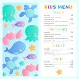 Modello del menu del ` s dei bambini di stile del mare Fotografie Stock Libere da Diritti