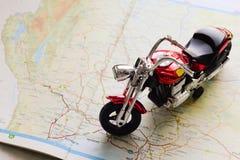 Modello del motociclo sulla mappa Fotografia Stock