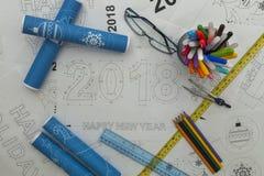 Modello 2018 del nuovo anno Fotografia Stock Libera da Diritti