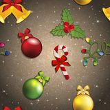 Modello del nuovo anno con il giocattolo, il vischio e la caramella dell'albero di Natale Fotografia Stock