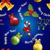 Modello del nuovo anno con il giocattolo, il vischio e la caramella dell'albero di Natale Immagini Stock Libere da Diritti