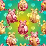 Modello del nuovo anno con la palla di Natale Scintille e bokeh Brillante ed emettere luce Fotografia Stock