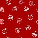 Modello del nuovo anno con le palle di Natale Backgroun senza cuciture di vettore royalty illustrazione gratis